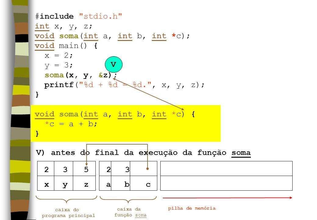 xyz V) antes do final da execução da função soma caixa do programa principal pilha de memória 23 V abc caixa da função soma 235 #include