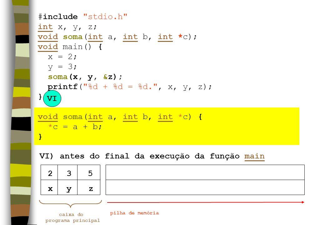 VI) antes do final da execução da função main VI xyz caixa do programa principal pilha de memória 235 #include