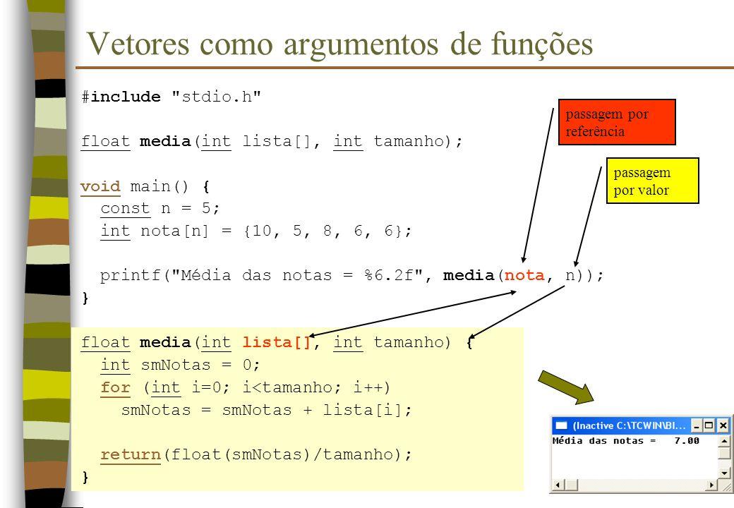 Vetores como argumentos de funções #include