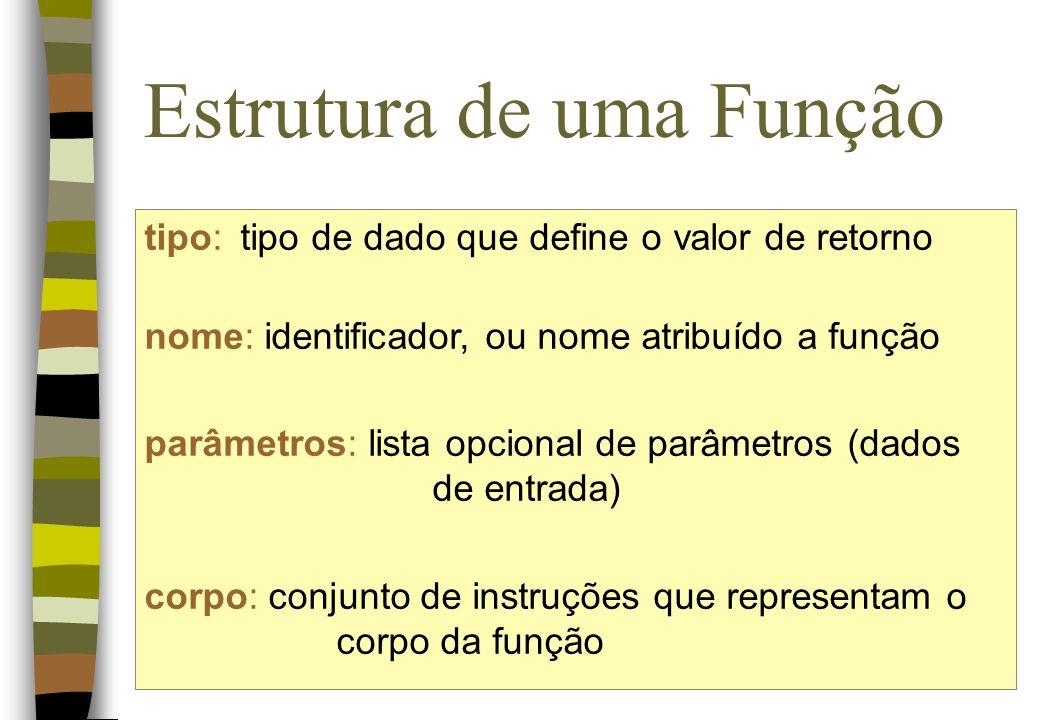 Estrutura de uma Função tipo:tipo de dado que define o valor de retorno nome: identificador, ou nome atribuído a função parâmetros: lista opcional de