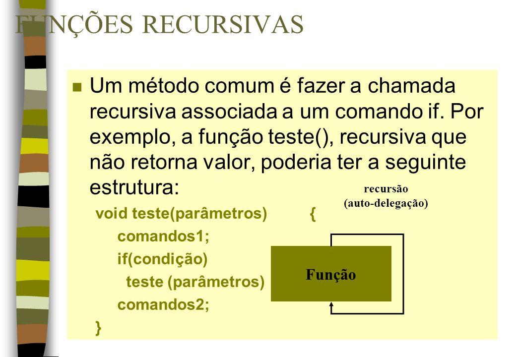 FUNÇÕES RECURSIVAS n Um método comum é fazer a chamada recursiva associada a um comando if. Por exemplo, a função teste(), recursiva que não retorna v
