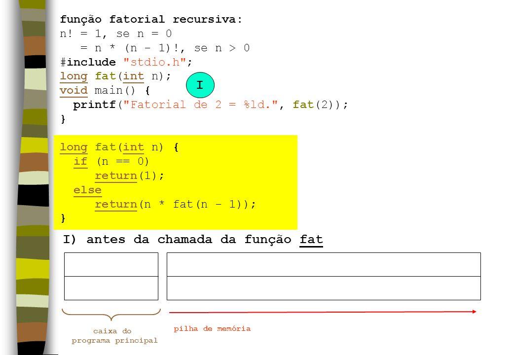 função fatorial recursiva: n! = 1, se n = 0 = n * (n - 1)!, se n > 0 #include