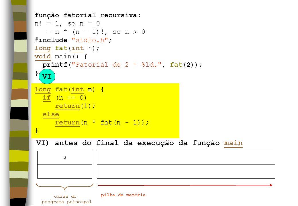 VI) antes do final da execução da função main VI caixa do programa principal pilha de memória 2 função fatorial recursiva: n! = 1, se n = 0 = n * (n -