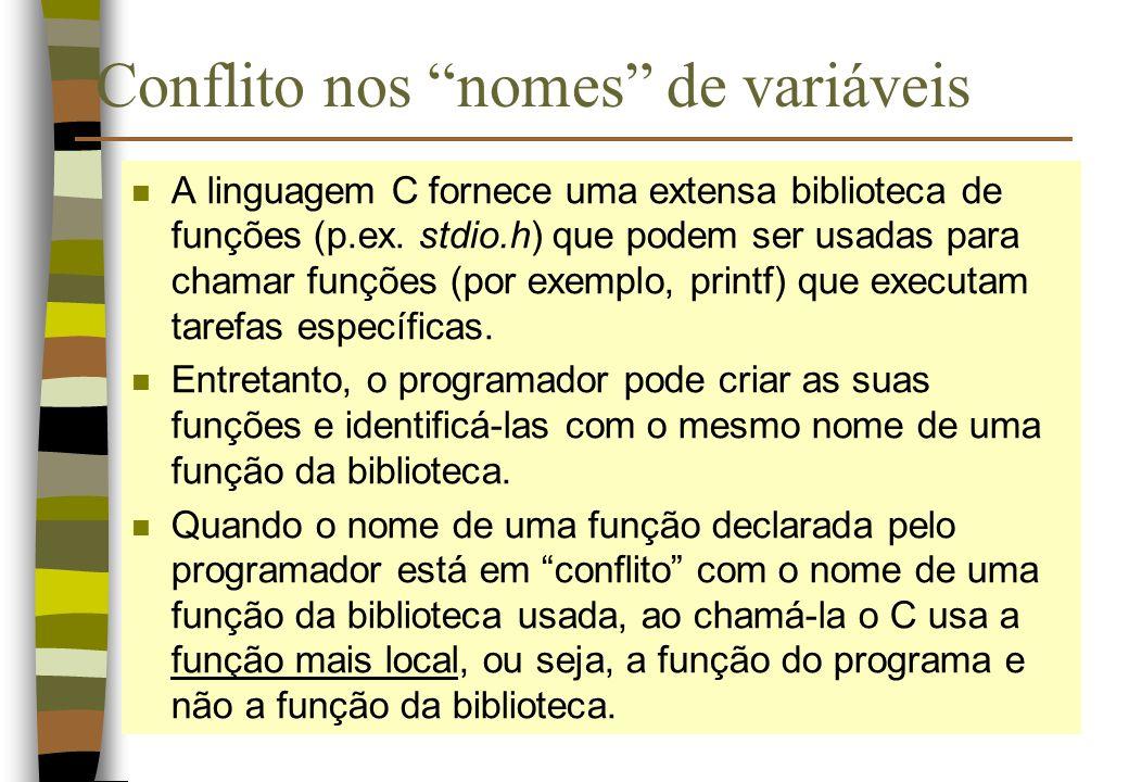 Conflito nos nomes de variáveis n A linguagem C fornece uma extensa biblioteca de funções (p.ex. stdio.h) que podem ser usadas para chamar funções (po