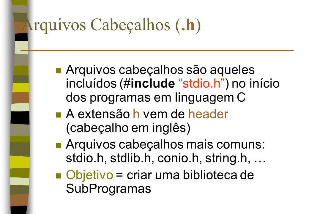 Arquivos Cabeçalhos (.h) n Arquivos cabeçalhos são aqueles incluídos (#include stdio.h) no início dos programas em linguagem C n A extensão h vem de h
