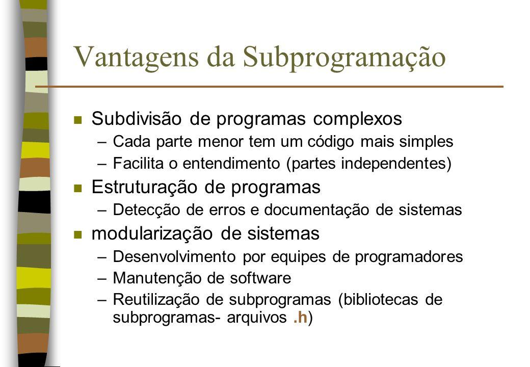 Vantagens da Subprogramação n Subdivisão de programas complexos –Cada parte menor tem um código mais simples –Facilita o entendimento (partes independ