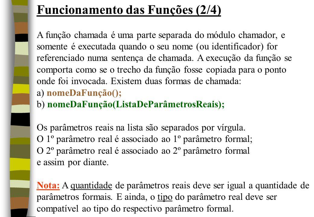 Funcionamento das Funções (2/4) A função chamada é uma parte separada do módulo chamador, e somente é executada quando o seu nome (ou identificador) f