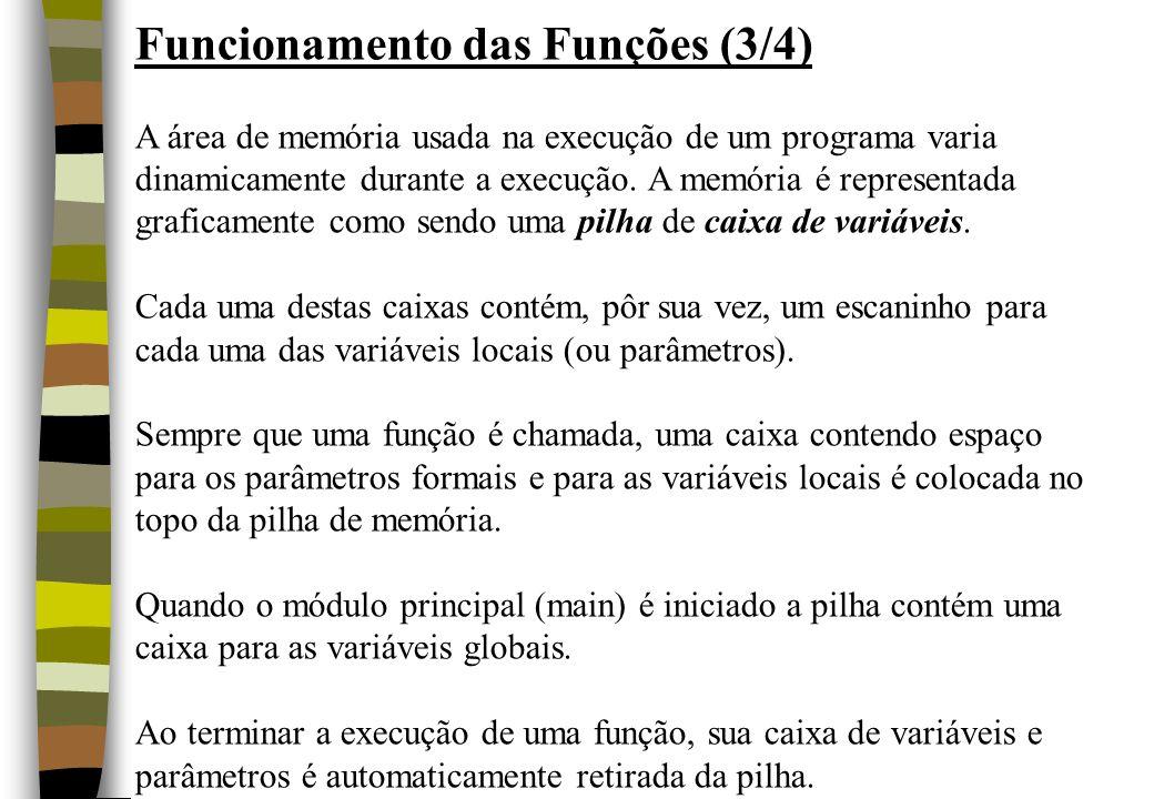 Funcionamento das Funções (3/4) A área de memória usada na execução de um programa varia dinamicamente durante a execução. A memória é representada gr