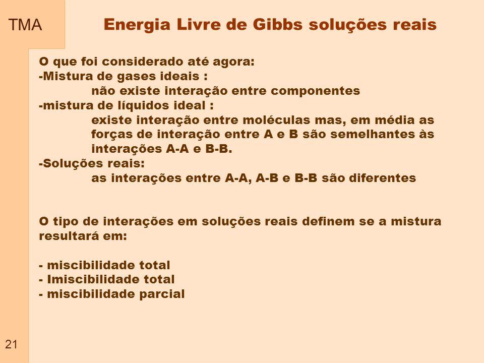 TMA 21 Energia Livre de Gibbs soluções reais O que foi considerado até agora: -Mistura de gases ideais : não existe interação entre componentes -mistu