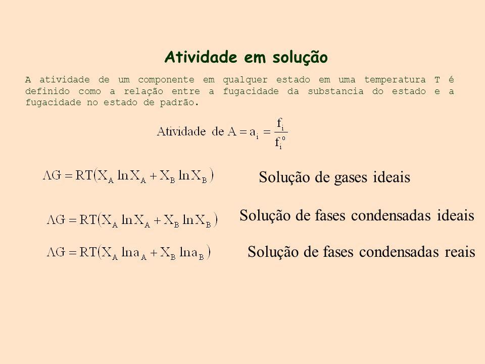 A atividade de um componente em qualquer estado em uma temperatura T é definido como a relação entre a fugacidade da substancia do estado e a fugacida