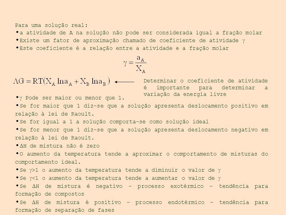 Para uma solução real: a atividade de A na solução não pode ser considerada igual a fração molar Existe um fator de aproximação chamado de coeficiente