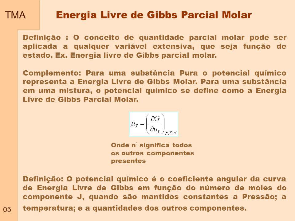 TMA 06 Misturas de dois componentes A e B Energia Livre de Gibbs Parcial Molar - cont Se não há variação de massa Se P e T são constantes com variação de massa (n J ) Geral – Equação fundamental geral da Termodinâmica