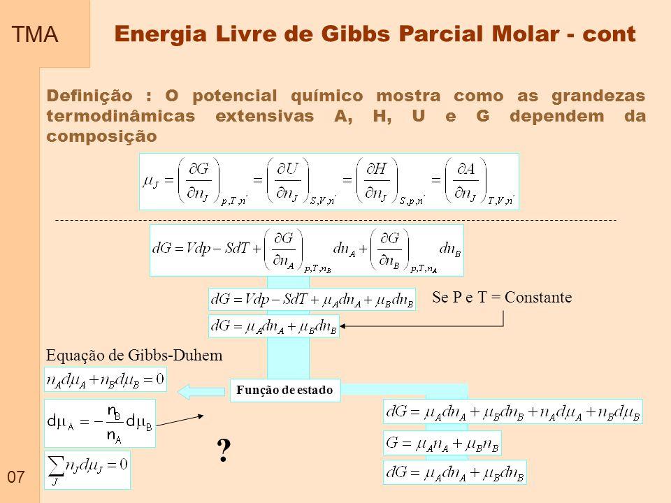 TMA 08 Energia Livre de Gibbs de misturas Exemplo clássico : Mistura de dois gases ideais Misturas de dois componentes A e B AB Se P e T = Constante Inicial (gases separados) G i Final (Mistura de gases) (Sem reação) G f AB T, P constante G=G f - G i