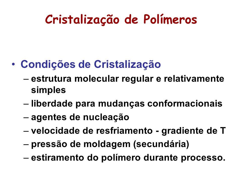 Cristalização de Polímeros Condições de Cristalização –estrutura molecular regular e relativamente simples –liberdade para mudanças conformacionais –a