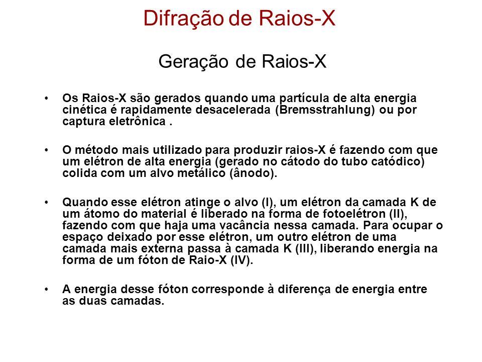 Difração de Raios-X Geração de Raios-X Os Raios-X são gerados quando uma partícula de alta energia cinética é rapidamente desacelerada (Bremsstrahlung