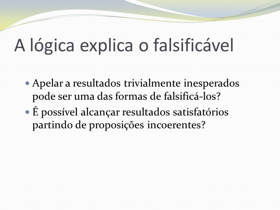 A lógica explica o falsificável Apelar a resultados trivialmente inesperados pode ser uma das formas de falsificá-los? É possível alcançar resultados