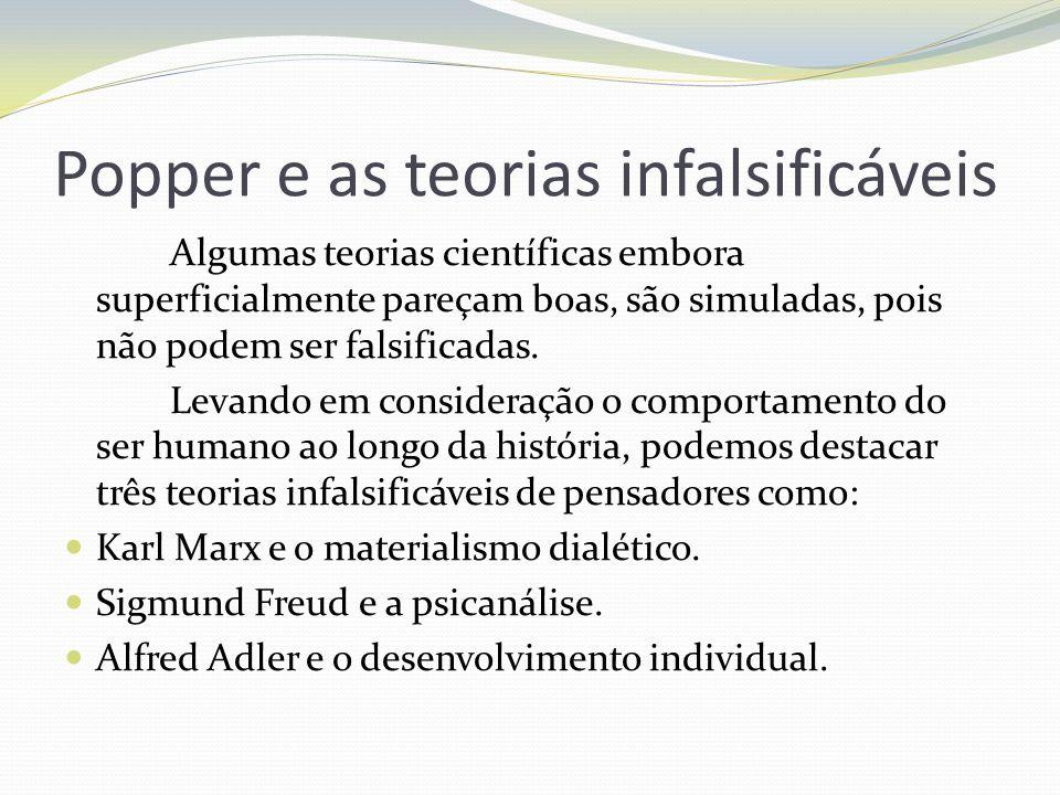 Popper e as teorias infalsificáveis Algumas teorias científicas embora superficialmente pareçam boas, são simuladas, pois não podem ser falsificadas.