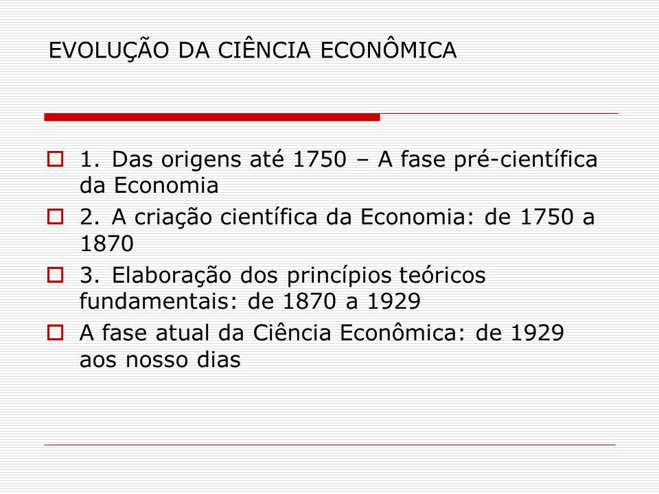 EVOLUÇÃO DA CIÊNCIA ECONÔMICA 1.Das origens até 1750 – A fase pré-científica da Economia 2.A criação científica da Economia: de 1750 a 1870 3.Elaboraç
