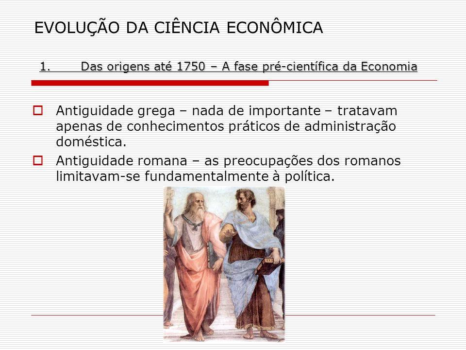 1.Das origens até 1750 – A fase pré-científica da Economia EVOLUÇÃO DA CIÊNCIA ECONÔMICA 1.Das origens até 1750 – A fase pré-científica da Economia An