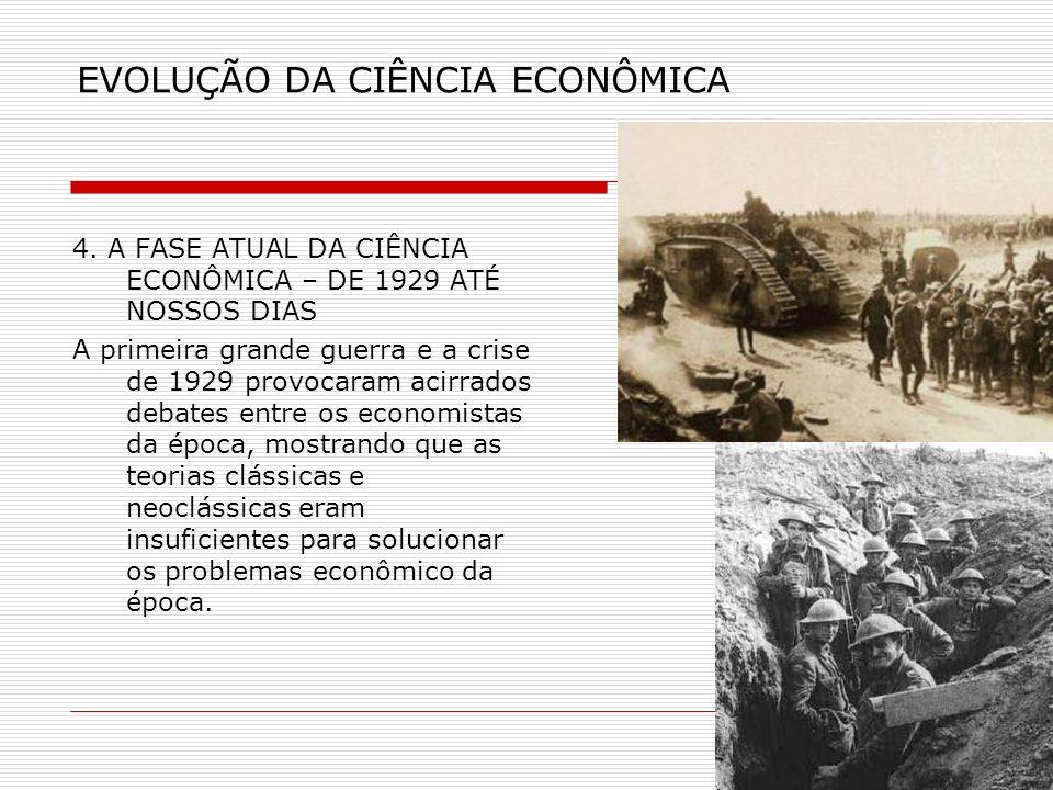 EVOLUÇÃO DA CIÊNCIA ECONÔMICA 4. A FASE ATUAL DA CIÊNCIA ECONÔMICA – DE 1929 ATÉ NOSSOS DIAS A primeira grande guerra e a crise de 1929 provocaram aci