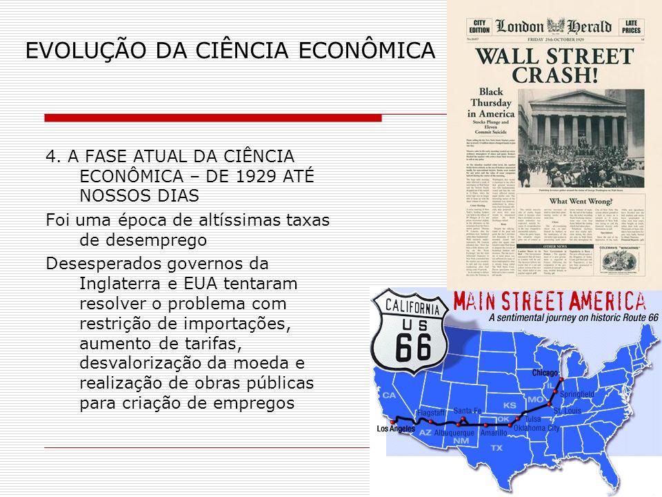 EVOLUÇÃO DA CIÊNCIA ECONÔMICA 4. A FASE ATUAL DA CIÊNCIA ECONÔMICA – DE 1929 ATÉ NOSSOS DIAS Foi uma época de altíssimas taxas de desemprego Desespera
