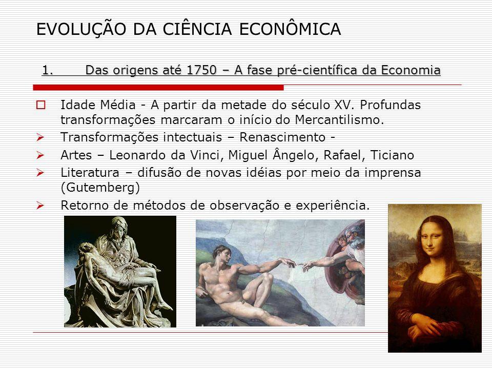 1.Das origens até 1750 – A fase pré-científica da Economia EVOLUÇÃO DA CIÊNCIA ECONÔMICA 1.Das origens até 1750 – A fase pré-científica da Economia Id
