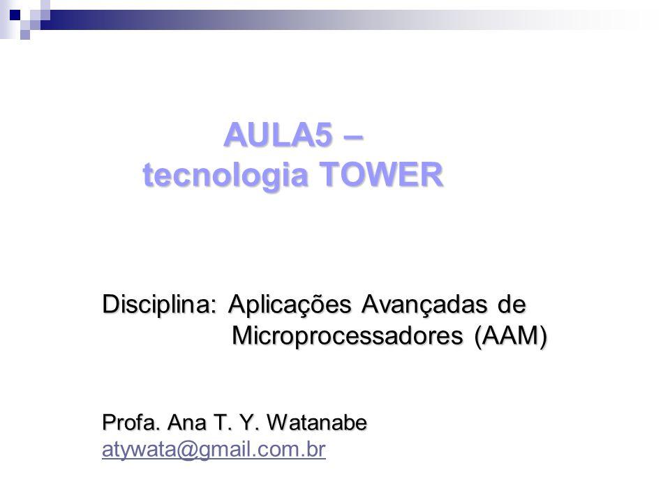 AULA5 – tecnologia TOWER Disciplina: Aplicações Avançadas de Microprocessadores (AAM) Microprocessadores (AAM) Profa. Ana T. Y. Watanabe atywata@gmail