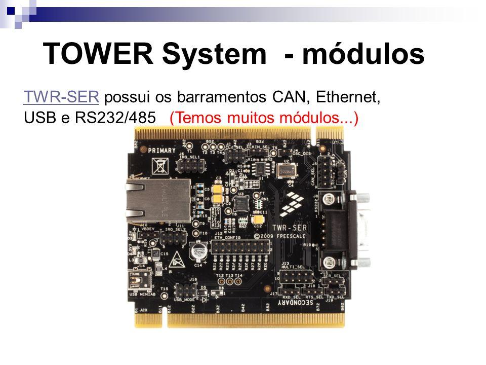 TOWER System - módulos TWR-SER possui os barramentos CAN, Ethernet, TWR-SER USB e RS232/485 (Temos muitos módulos...)