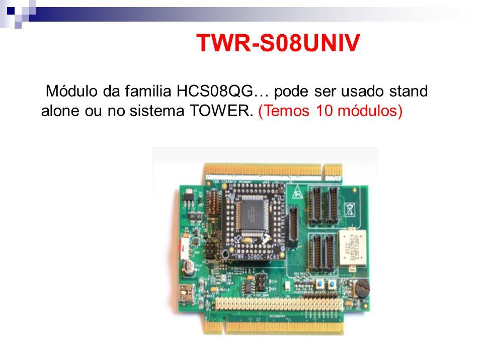 Módulo da familia HCS08QG… pode ser usado stand alone ou no sistema TOWER. (Temos 10 módulos) TWR-S08UNIV