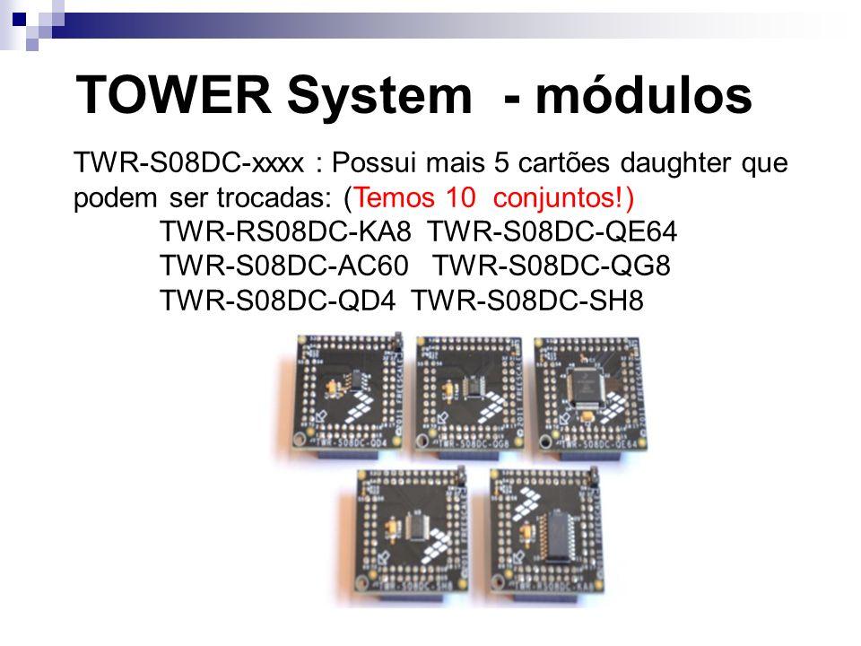 TOWER System - módulos TWR-S08DC-xxxx : Possui mais 5 cartões daughter que podem ser trocadas: (Temos 10 conjuntos!) TWR-RS08DC-KA8 TWR-S08DC-QE64 TWR
