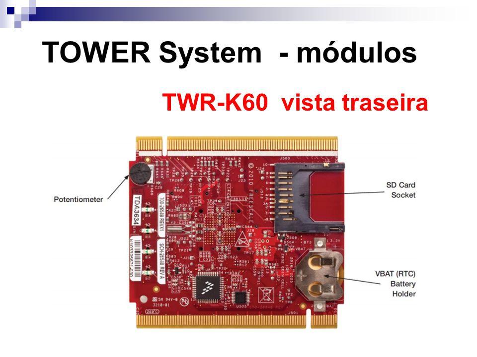 TOWER System - módulos TWR-K60 vista traseira