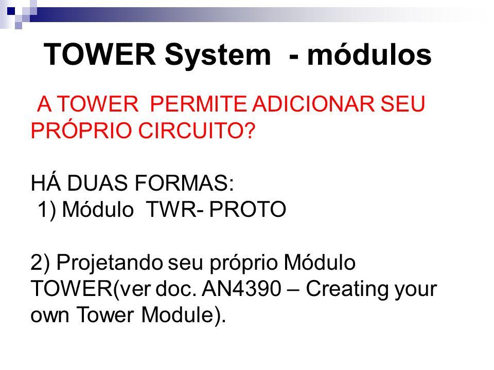 TOWER System - módulos A TOWER PERMITE ADICIONAR SEU PRÓPRIO CIRCUITO? HÁ DUAS FORMAS: 1) Módulo TWR- PROTO 2) Projetando seu próprio Módulo TOWER(ver