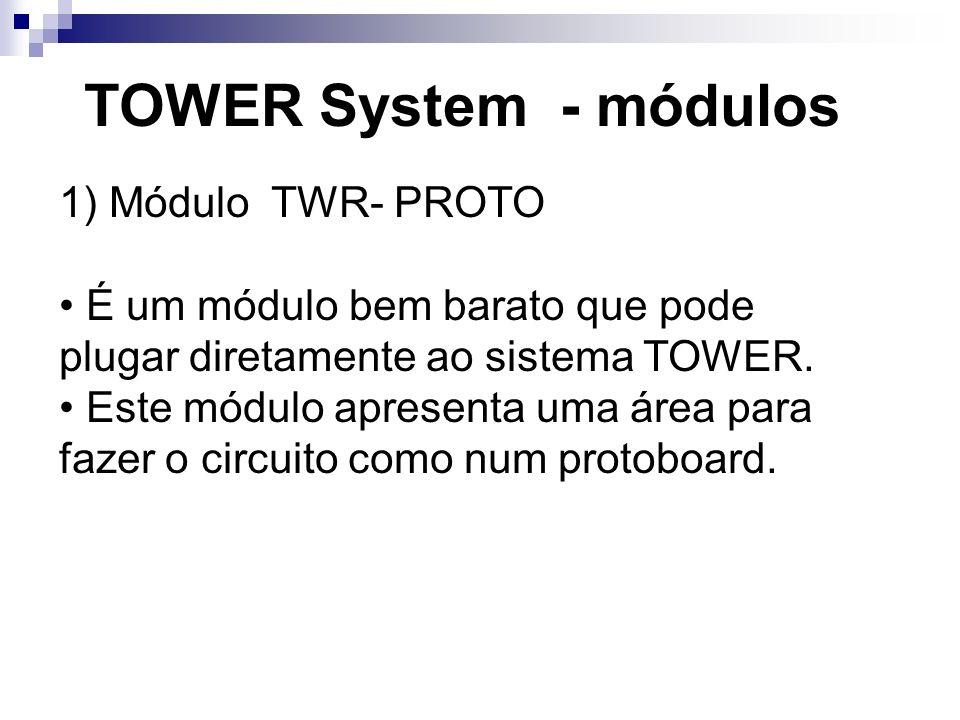 TOWER System - módulos 1) Módulo TWR- PROTO É um módulo bem barato que pode plugar diretamente ao sistema TOWER. Este módulo apresenta uma área para f