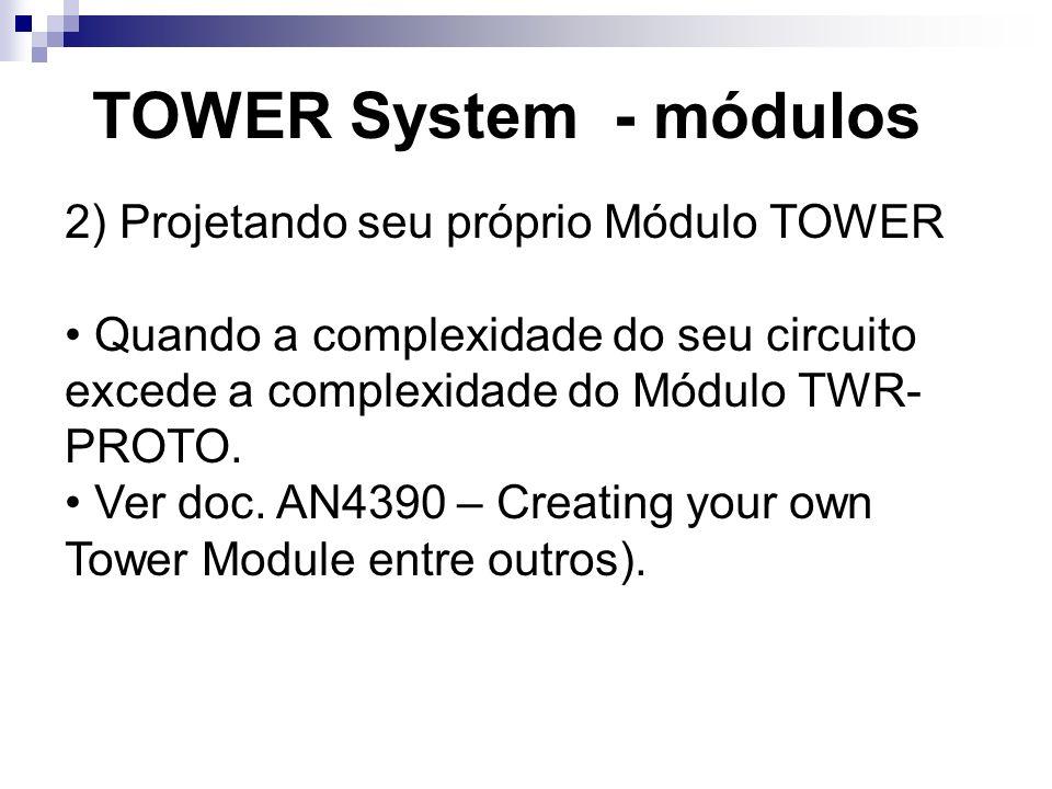 TOWER System - módulos 2) Projetando seu próprio Módulo TOWER Quando a complexidade do seu circuito excede a complexidade do Módulo TWR- PROTO. Ver do