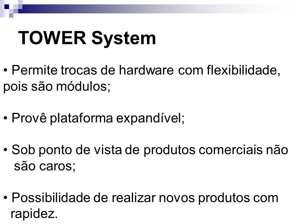 TOWER System Permite trocas de hardware com flexibilidade, pois são módulos; Provê plataforma expandível; Sob ponto de vista de produtos comerciais nã