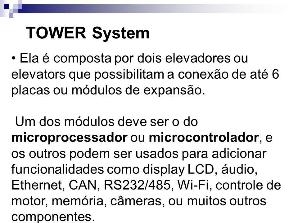 TOWER System Ela é composta por dois elevadores ou elevators que possibilitam a conexão de até 6 placas ou módulos de expansão. Um dos módulos deve se