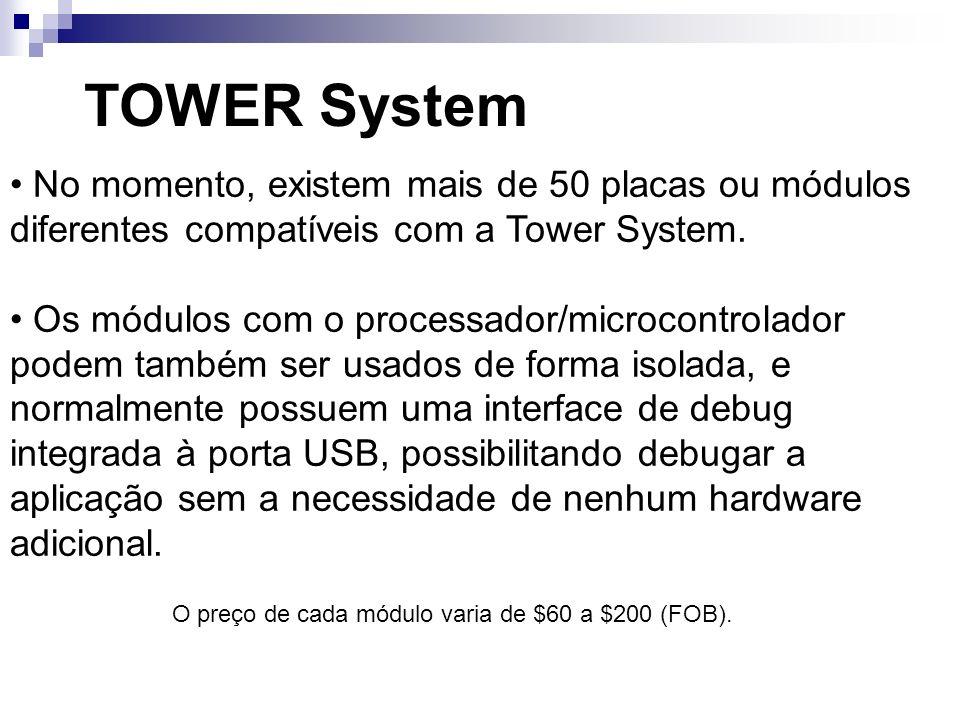 No momento, existem mais de 50 placas ou módulos diferentes compatíveis com a Tower System. Os módulos com o processador/microcontrolador podem também