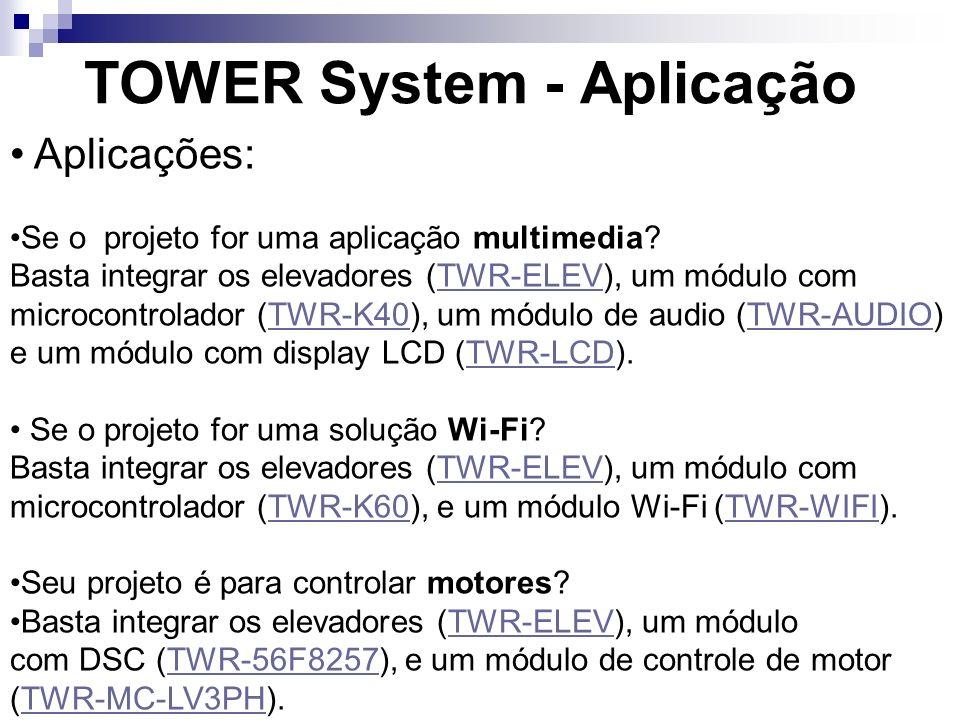 TOWER System - Aplicação Aplicações: Se o projeto for uma aplicação multimedia? Basta integrar os elevadores (TWR-ELEV), um módulo com microcontrolado