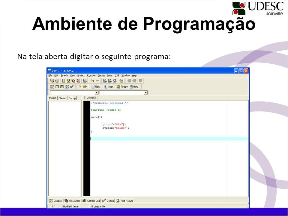 Na tela aberta digitar o seguinte programa: Ambiente de Programação