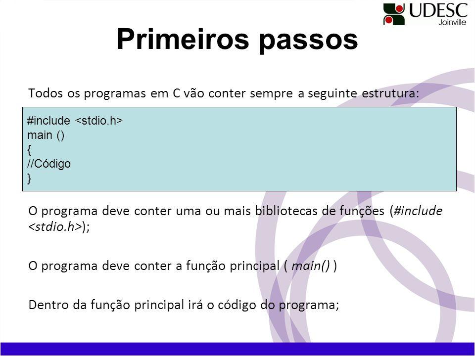 Todos os programas em C vão conter sempre a seguinte estrutura: O programa deve conter uma ou mais bibliotecas de funções (#include ); O programa deve