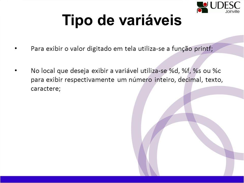 Para exibir o valor digitado em tela utiliza-se a função printf; No local que deseja exibir a variável utiliza-se %d, %f, %s ou %c para exibir respect