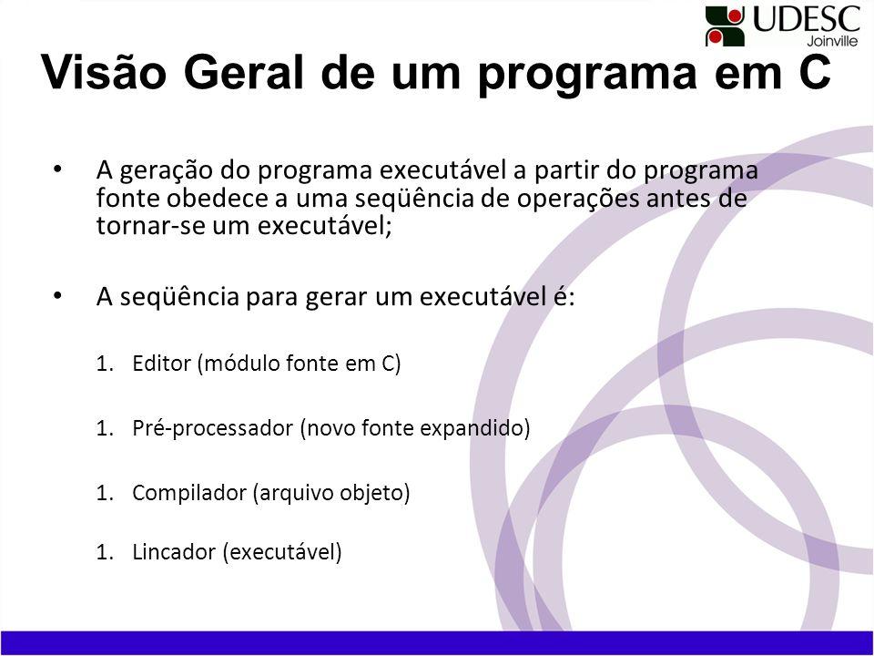 A geração do programa executável a partir do programa fonte obedece a uma seqüência de operações antes de tornar-se um executável; A seqüência para ge