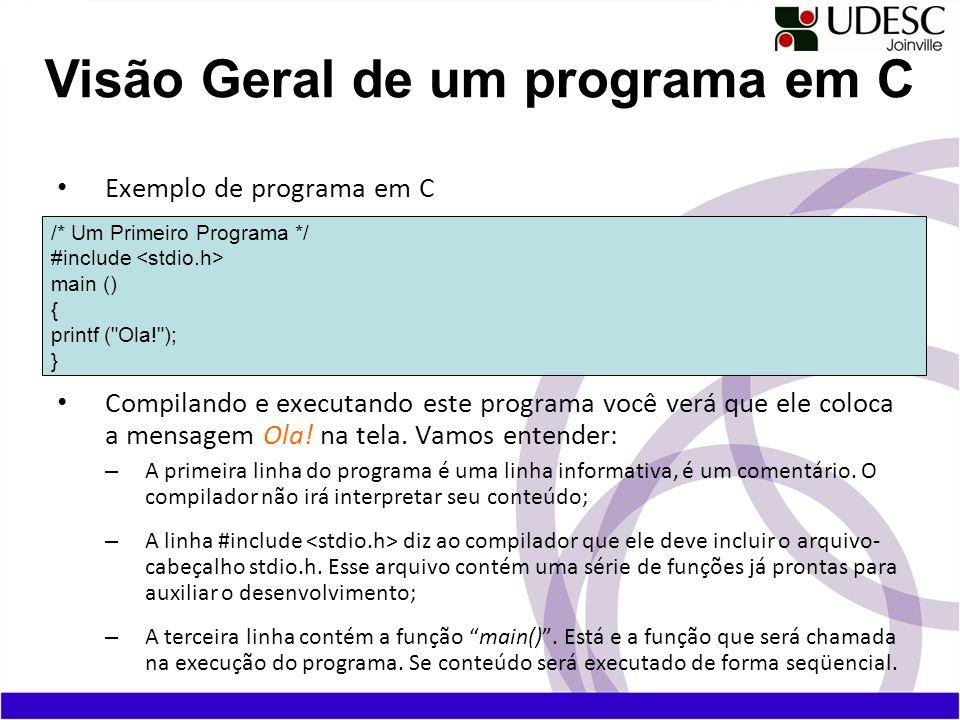 Exemplo de programa em C Compilando e executando este programa você verá que ele coloca a mensagem Ola! na tela. Vamos entender: – A primeira linha do