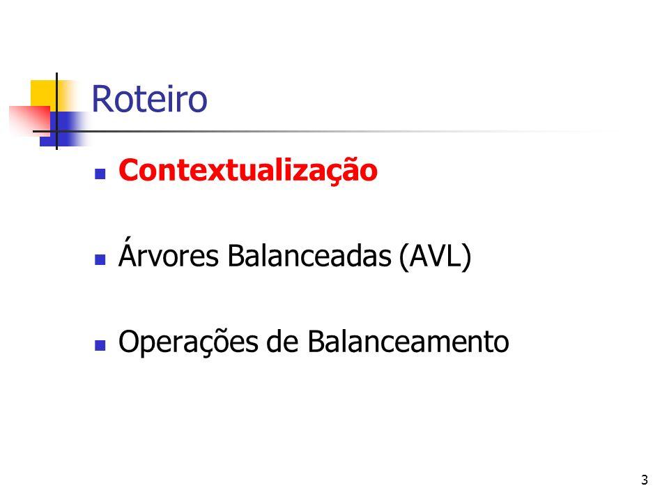 3 Roteiro Contextualização Árvores Balanceadas (AVL) Operações de Balanceamento