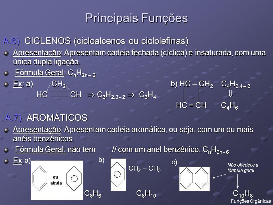 A.6) CICLENOS (cicloalcenos ou ciclolefinas) Apresentação: Apresentam cadeia fechada (cíclica) e insaturada, com uma única dupla ligação. Fórmula Gera