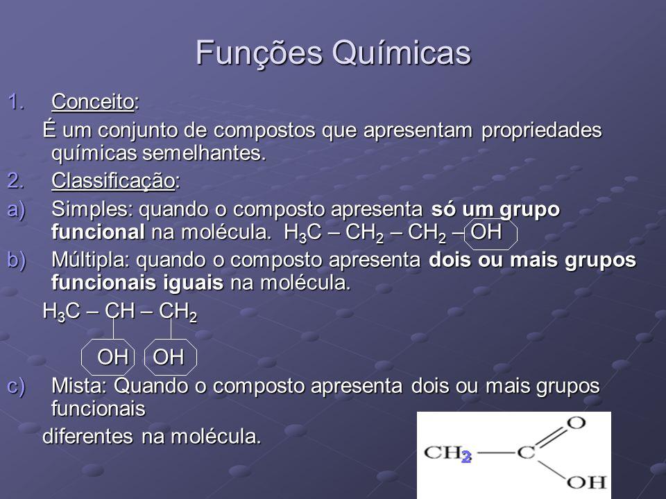 1.Conceito: É um conjunto de compostos que apresentam propriedades químicas semelhantes. É um conjunto de compostos que apresentam propriedades químic
