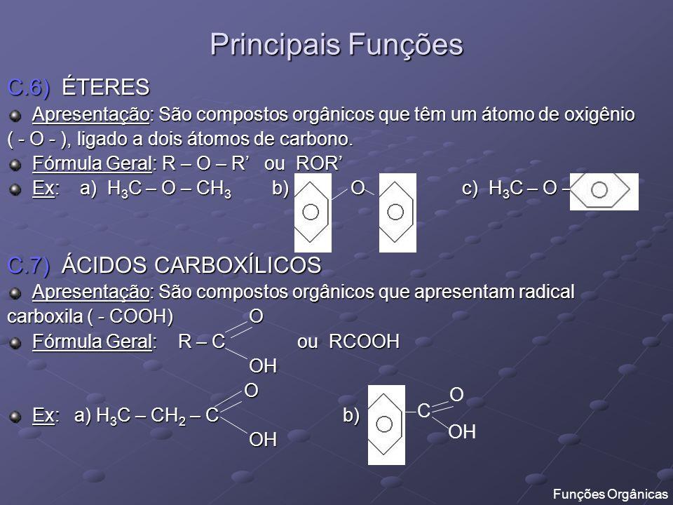 Principais Funções C.6) ÉTERES Apresentação: São compostos orgânicos que têm um átomo de oxigênio ( - O - ), ligado a dois átomos de carbono. Fórmula