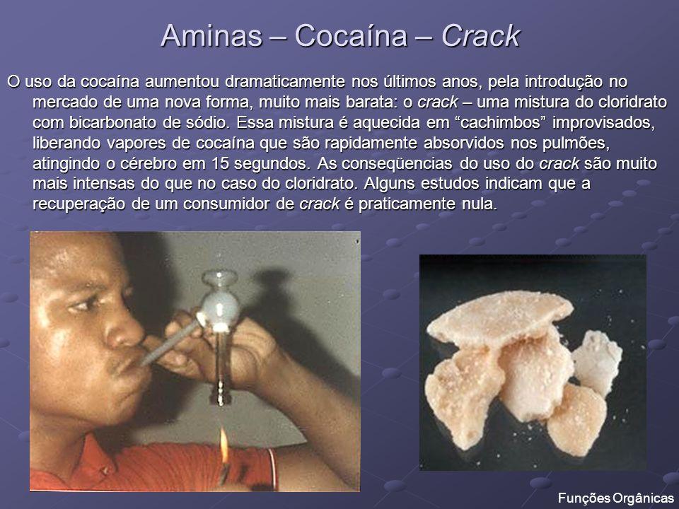 Aminas – Cocaína – Crack O uso da cocaína aumentou dramaticamente nos últimos anos, pela introdução no mercado de uma nova forma, muito mais barata: o