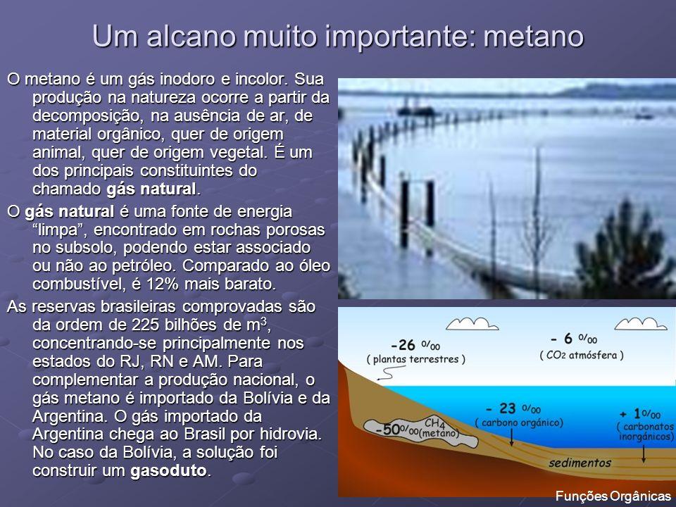 Um alcano muito importante: metano O metano é um gás inodoro e incolor. Sua produção na natureza ocorre a partir da decomposição, na ausência de ar, d