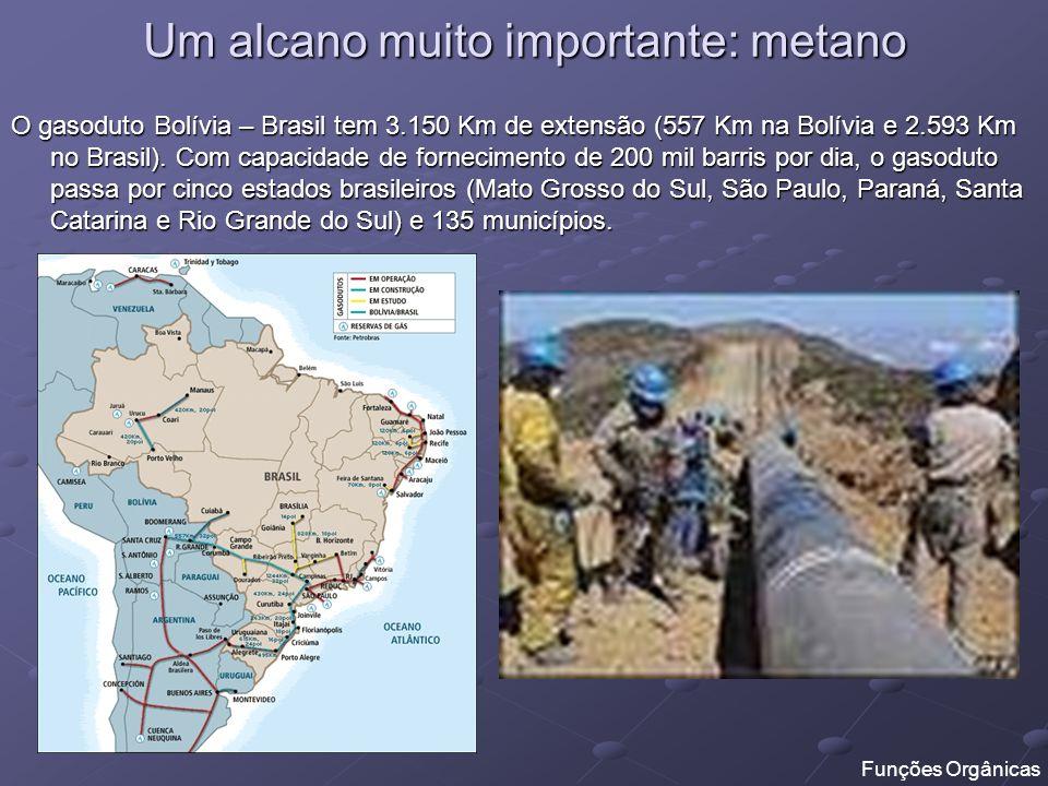 Um alcano muito importante: metano O gasoduto Bolívia – Brasil tem 3.150 Km de extensão (557 Km na Bolívia e 2.593 Km no Brasil). Com capacidade de fo